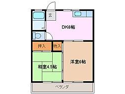 三重県桑名市青葉町2丁目の賃貸アパートの間取り
