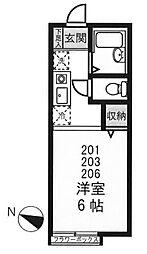 東京都新宿区下落合2丁目の賃貸アパートの間取り