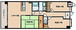 兵庫県神戸市西区二ツ屋2丁目の賃貸マンションの間取り