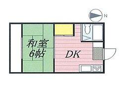 JR中央線 国立駅 徒歩12分の賃貸マンション 2階1Kの間取り