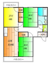 グローリーハイツ A棟[2階]の間取り