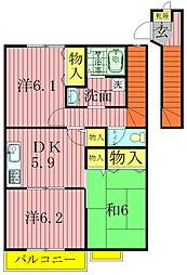クレストM壱番館、弐番館[1-201号室]の間取り