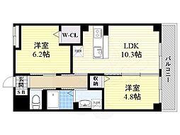 阪急京都本線 西山天王山駅 徒歩15分の賃貸マンション 2階2LDKの間取り