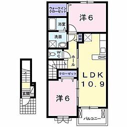 福岡県八女郡広川町大字新代の賃貸アパートの間取り