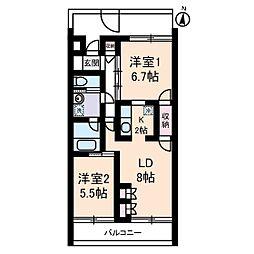 ドルフEAST[2階]の間取り