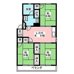 コーポ第2丸菊[3階]の間取り