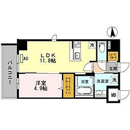 BRIGHT ABIKO(ブライト アビコ)[5階]の間取り