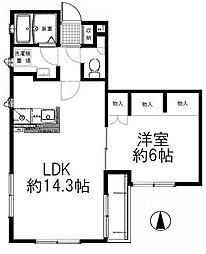 東京都大田区南蒲田3丁目の賃貸アパートの間取り