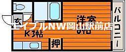 岡山県岡山市北区葵町の賃貸アパートの間取り