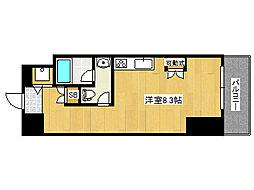 阪神本線 深江駅 徒歩2分の賃貸マンション 4階ワンルームの間取り