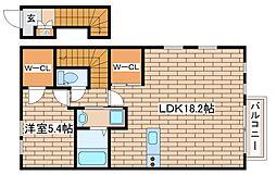 阪急神戸本線 王子公園駅 徒歩18分の賃貸アパート 2階1LDKの間取り