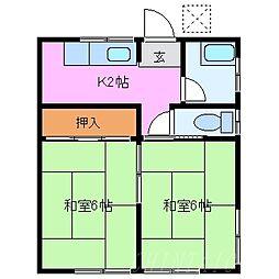 三重県桑名市多度町柚井の賃貸アパートの間取り
