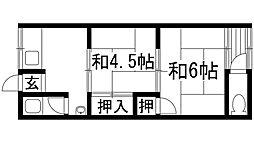 兵庫県宝塚市美座2丁目の賃貸アパートの間取り