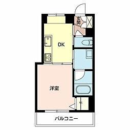 JR阪和線 鳳駅 徒歩3分の賃貸マンション 2階1DKの間取り