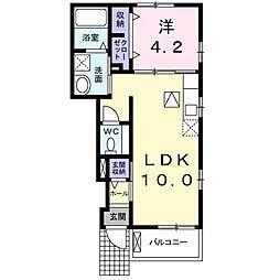 小田急小田原線 玉川学園前駅 徒歩17分の賃貸アパート 1階1LDKの間取り