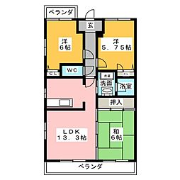 愛知県名古屋市緑区鳴海町字森下の賃貸マンションの間取り