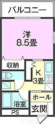 バス 第1南上原下車 徒歩1分の賃貸アパート 4階1Kの間取り