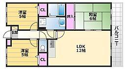 ラピート初芝 3階3LDKの間取り