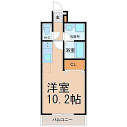名古屋市営桜通線 野並駅 徒歩2分の賃貸マンション 5階ワンルームの間取り