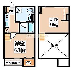 大阪府堺市堺区新在家町西2丁の賃貸アパートの間取り