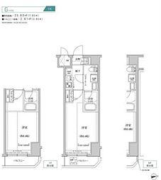 都営新宿線 住吉駅 徒歩10分の賃貸マンション 3階1Kの間取り
