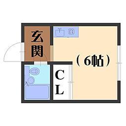 アネシス田村[201号室]の間取り