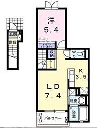 ジャルダン南[2階]の間取り
