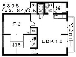 大阪府羽曳野市島泉1丁目の賃貸アパートの間取り