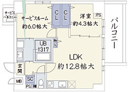 ウッドリバー新大阪[5階]の間取り