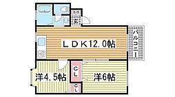 兵庫県神戸市灘区上野通3丁目の賃貸アパートの間取り