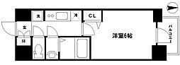 プレサンス松屋町ヴェルデス 6階1Kの間取り