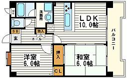 日宝サンフラッツ東平[4階]の間取り