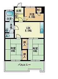 105大稲マンション[0504号室]の間取り