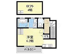 南海高野線 萩原天神駅 徒歩6分の賃貸アパート 2階1Kの間取り