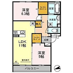 大阪府大東市平野屋1丁目の賃貸アパートの間取り