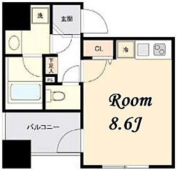 東京メトロ日比谷線 茅場町駅 徒歩5分の賃貸マンション 6階ワンルームの間取り