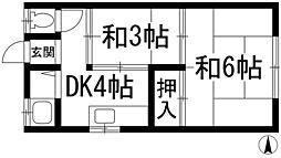 兵庫県川西市久代2丁目の賃貸アパートの間取り