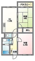 大阪府四條畷市大字南野の賃貸マンションの間取り