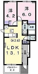 東京都昭島市中神町2丁目の賃貸アパートの間取り