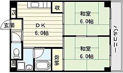 大阪府大阪市生野区生野東3丁目の賃貸マンションの間取り