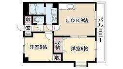 グランディアム香坂[201号室]の間取り