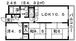 ライゼックス北岡[4E号室号室]の間取り