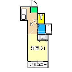 リヴィエラ上町II[4階]の間取り