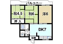 パディーフィールド21[4階]の間取り