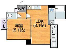 Osaka Metro谷町線 喜連瓜破駅 徒歩12分の賃貸アパート 2階1LDKの間取り