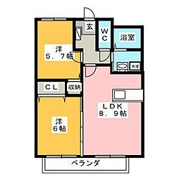 リーフミナン[1階]の間取り