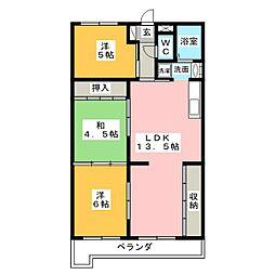 ロジィングス藤井[1階]の間取り