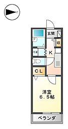 愛知県名古屋市西区上小田井1丁目の賃貸アパートの間取り