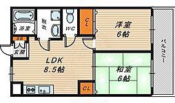 ヨシミハイツ 3階2LDKの間取り