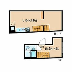 CONTEL SHINANOMACHI 1階1LDKの間取り
